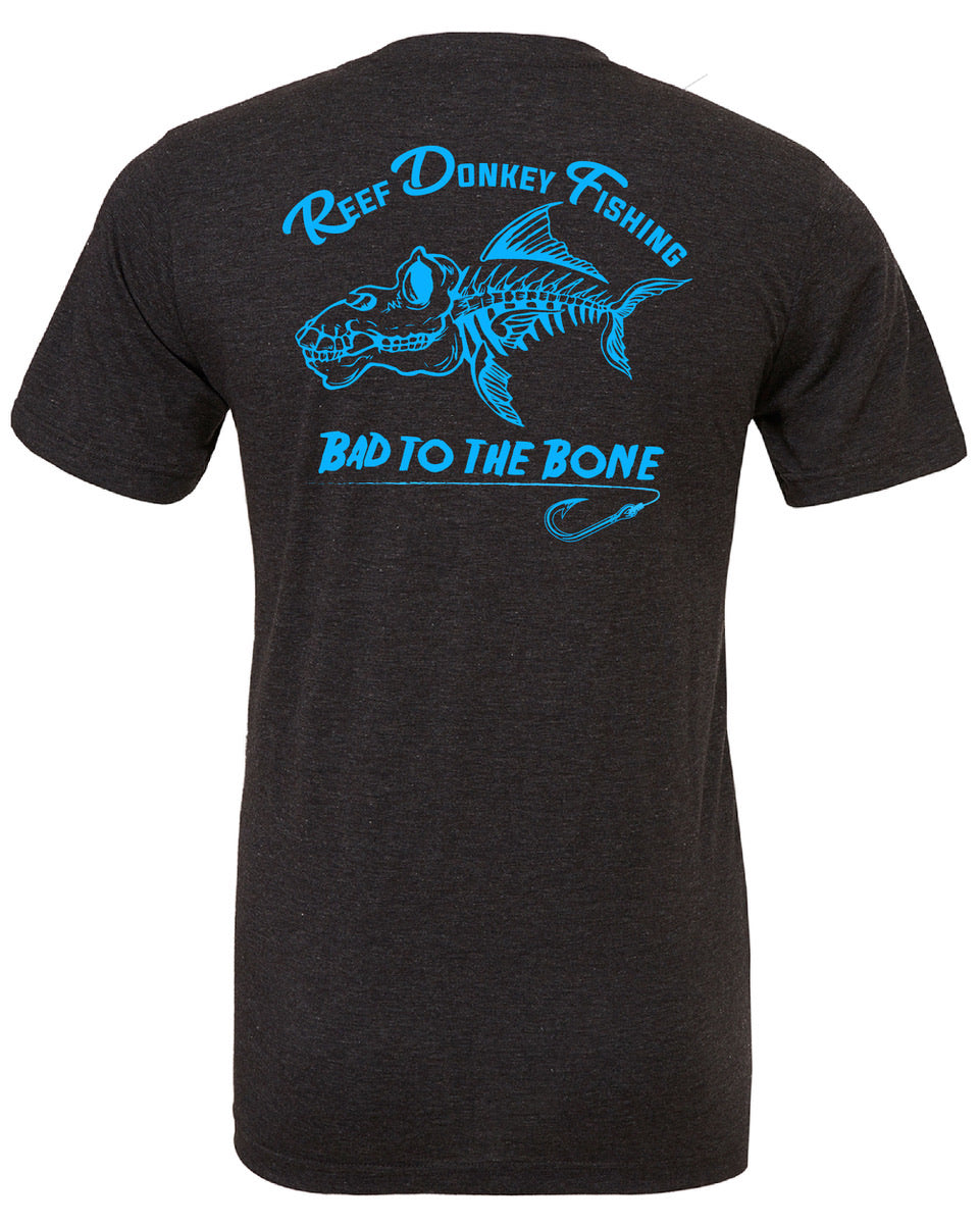 Bad To The Bone Charcoal & Blue T-Shirt