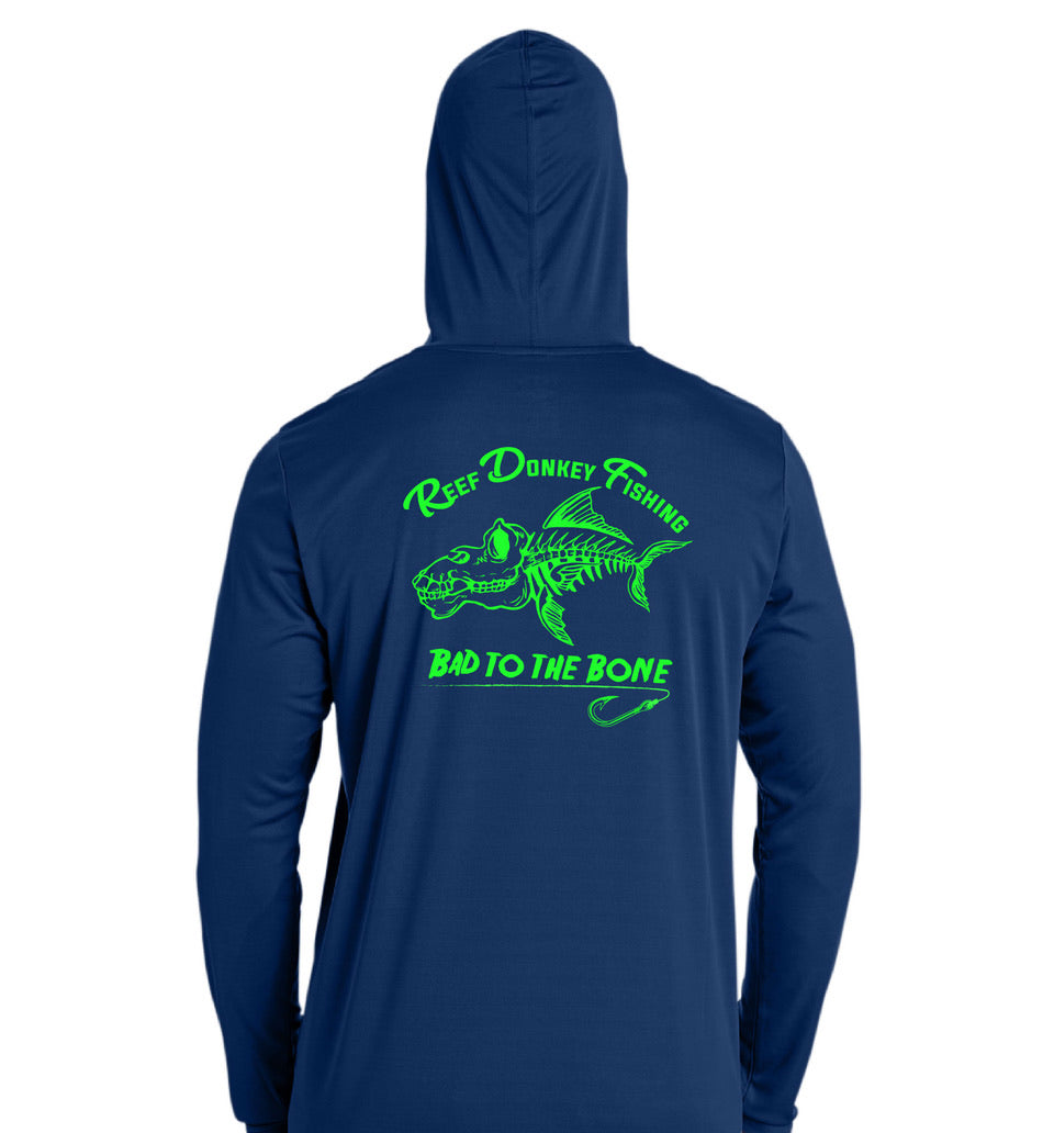 Bad To The Bone Performance Hoodie - Navy | Lime
