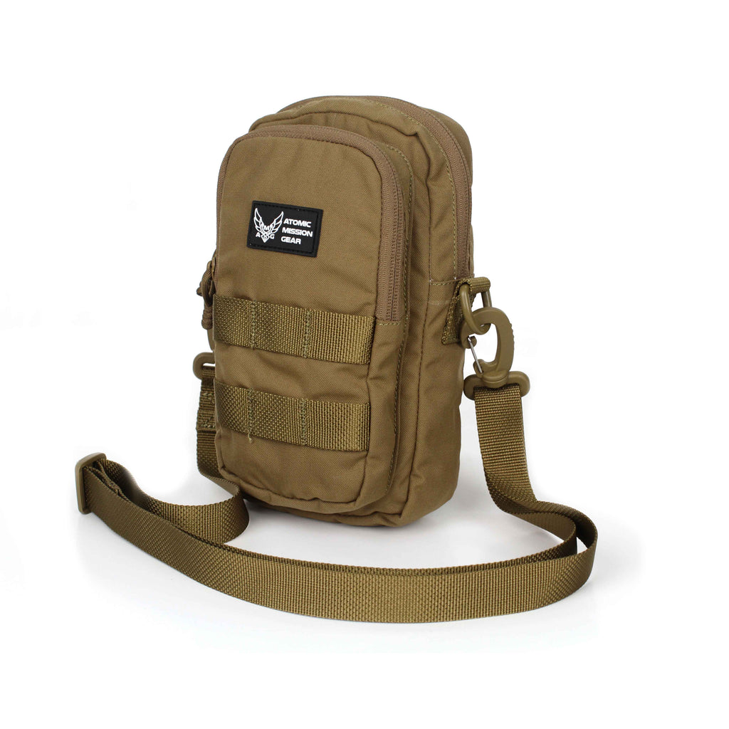 AMG Rome Simple Dual Compartment Military Inspired Sling Bag Coyote Brown