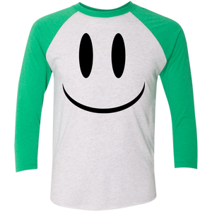 Smiley Face V1 Next Level Tri-Blend 3/4 Sleeve Baseball Raglan T-Shirt