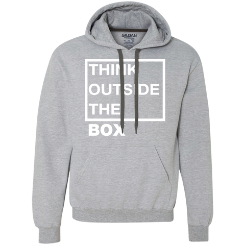 Think Outside The Box_white Heavyweight Pullover Fleece Sweatshirt