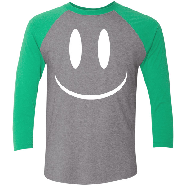 Smiley Face V2 Next Level Tri-Blend 3/4 Sleeve Baseball Raglan T-Shirt