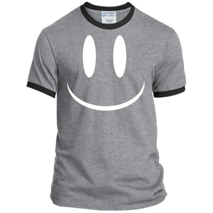 Smiley Face V2 Port & Co. Ringer Tee