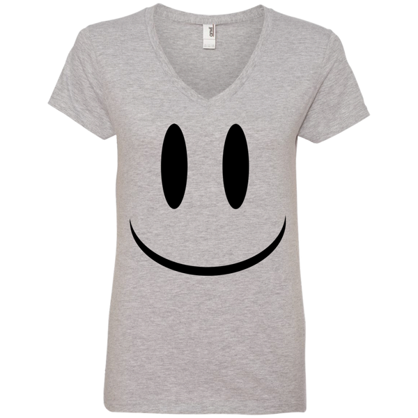 Smiley Face V1 Anvil Ladies' V-Neck T-Shirt