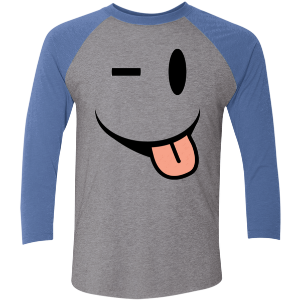 Smiling Tongue Tri-Blend 3/4 Sleeve Baseball Raglan T-Shirt