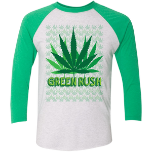 Green Rush Tri-Blend 3/4 Sleeve Baseball Raglan T-Shirt