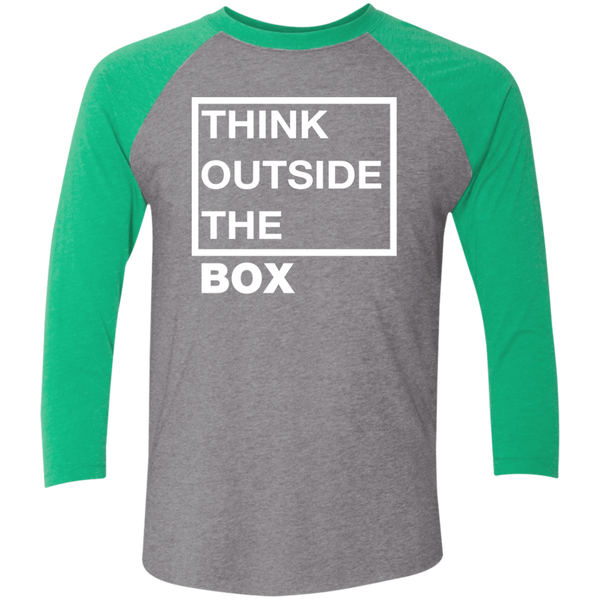 Think Outside The Box_white Tri-Blend 3/4 Sleeve Baseball Raglan T-Shirt