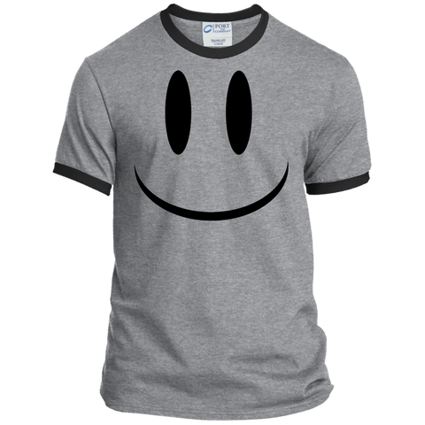 Smiley Face V1 Port & Co. Ringer Tee