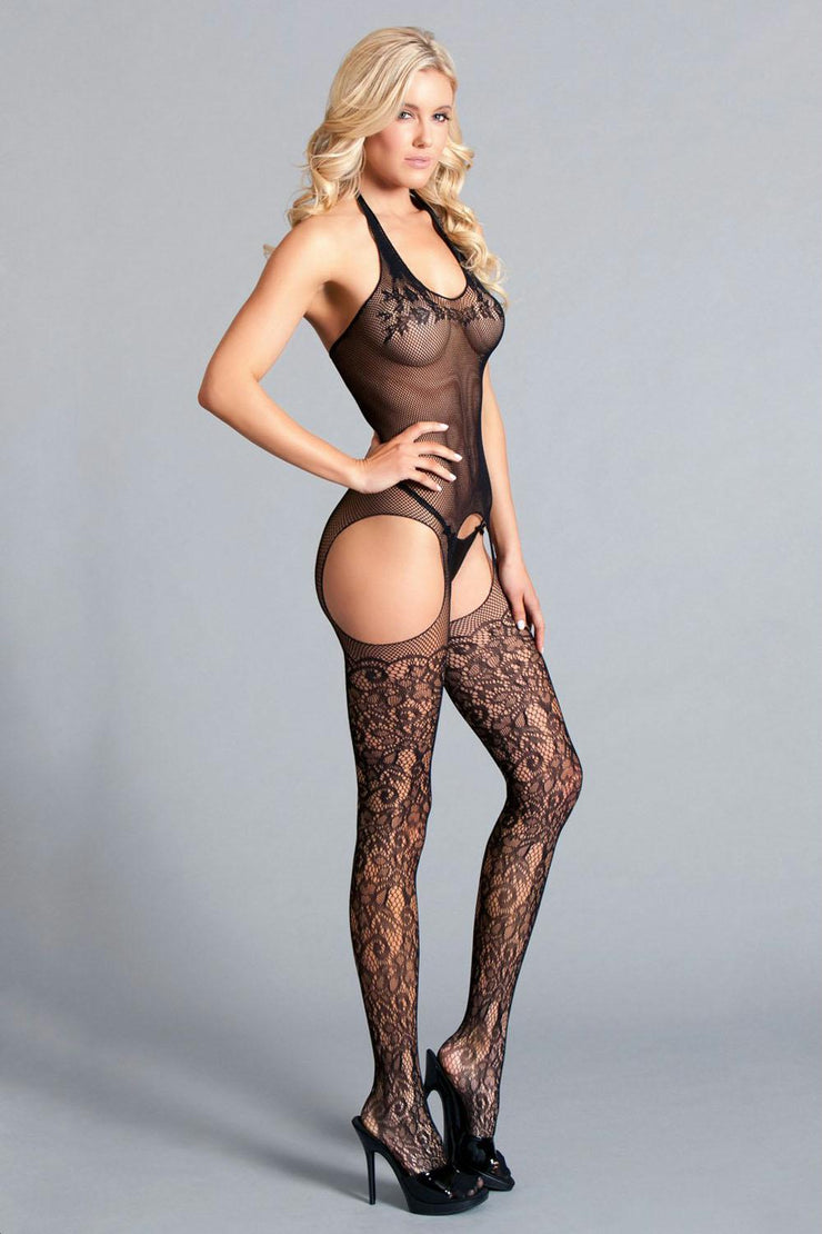 Halter Suspender Bodystocking W - Lace Detail  Thigh Highs