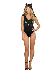 Dreamgirl Pretty Kitty Bodysuit - Black - S-m