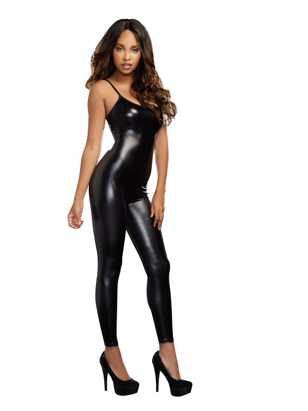 Dreamgirl Liquid Unitard Bodysuit - Black - S-m