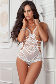 1pc Strappy Open Cups Teddy - One Size - White