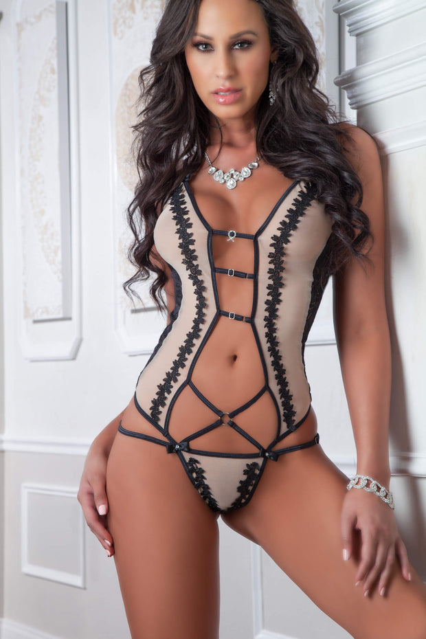 1pc Retro Embroidered Teddy - One Size - Nude Noir