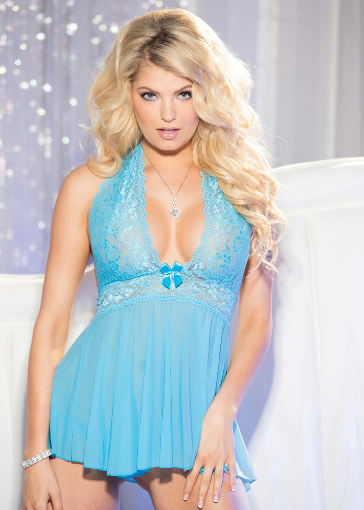 Stretch Mesh & Lace Babydoll With Bow