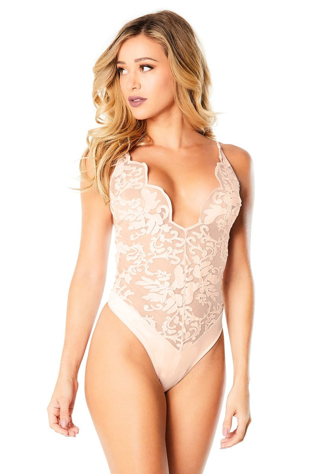 Embrodidered Bodysuit With Plunge Neckline - Silver Pony - Small