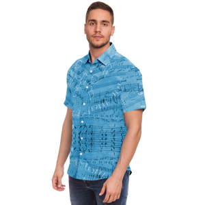 Vintage Blue Musical Notes Shirt