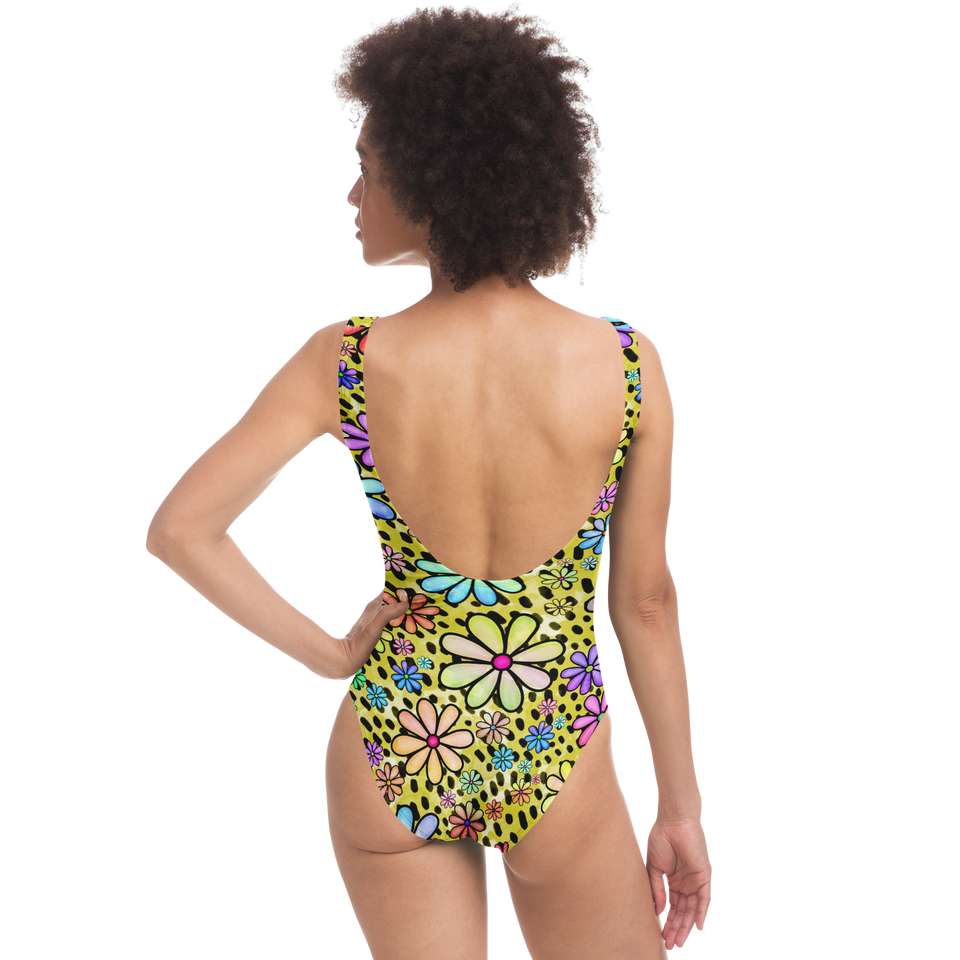 Retro Flower Swimsuit Chartreuse Color