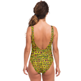 Chartreuse Swimsuit Colorful Circles