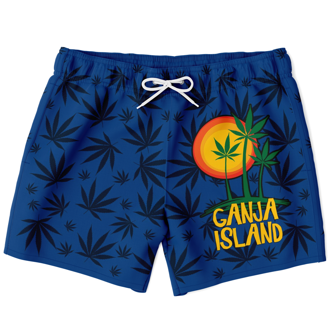 Marijuana Swim Trunks Blue