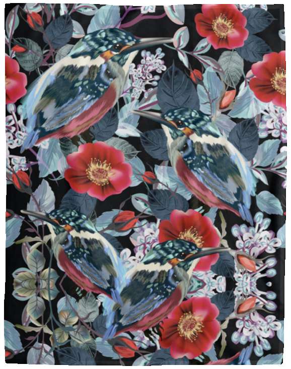 Wild Birds And Flowers Blanket