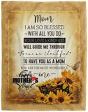 Mothers Day Velveteen Fleece Blanket With Quote
