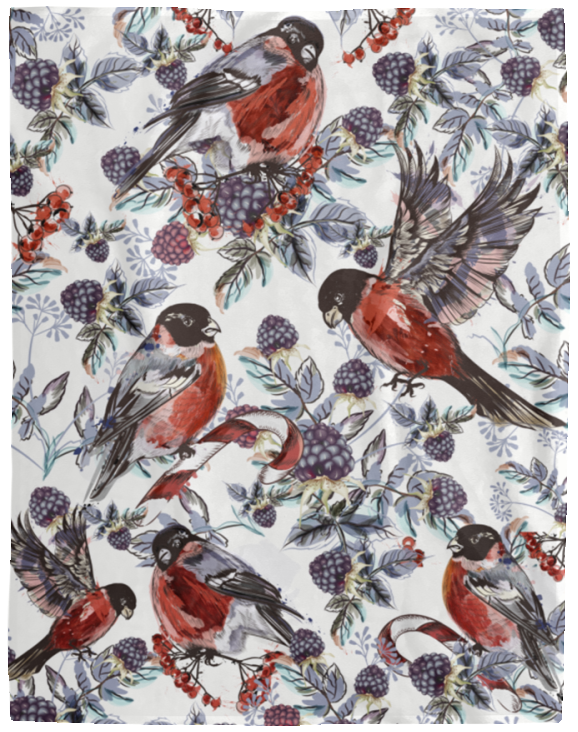 Exotic Birds And Berries Blanket