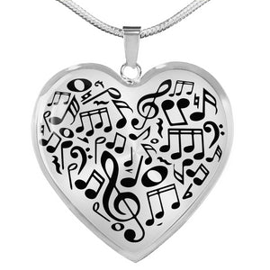 Musical Notes Heart Necklace