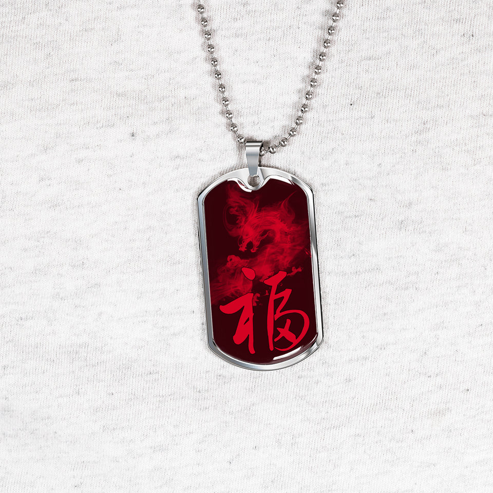 Chinese Luck FU With Dragon Necklace