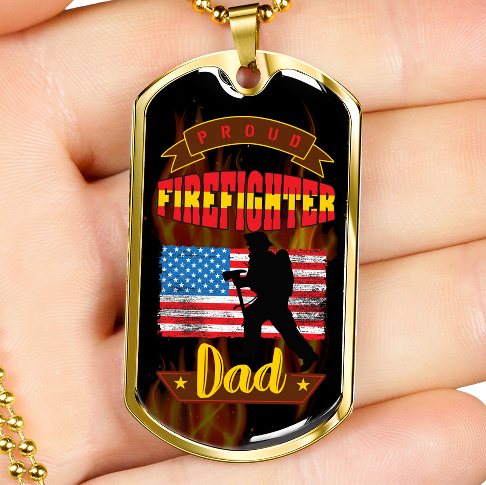 Proud Firefighter Dad Necklace