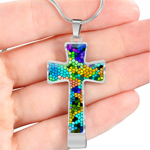 Colorful Stained Glass Cross Necklace