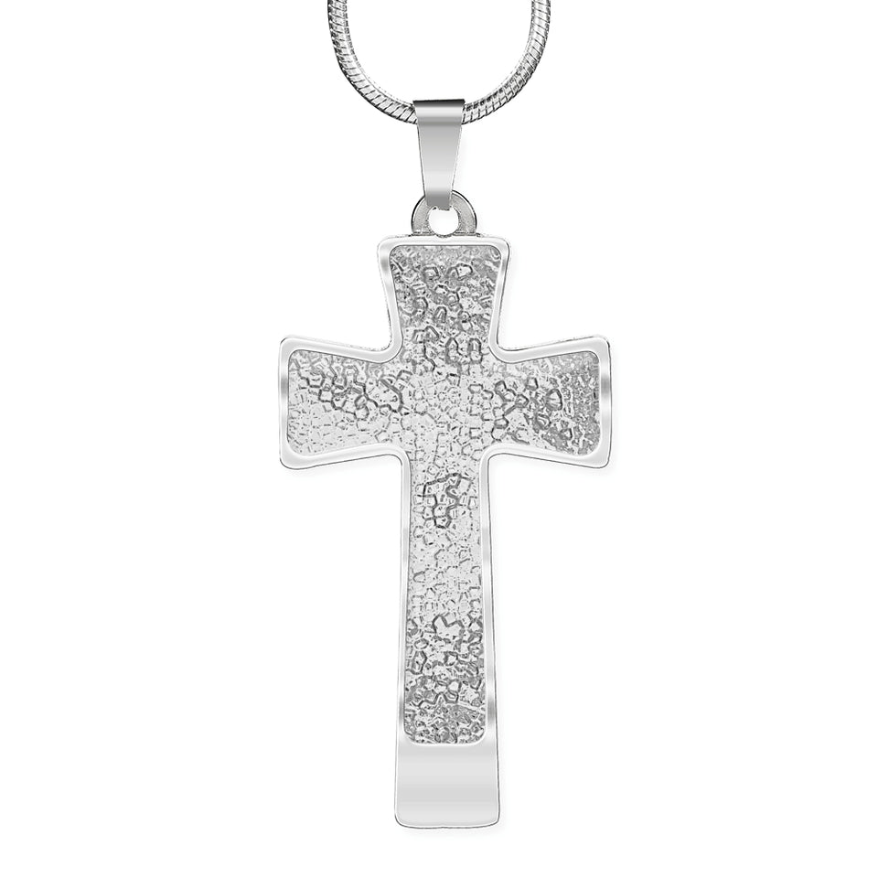 Mosaic Silver Cross Necklace