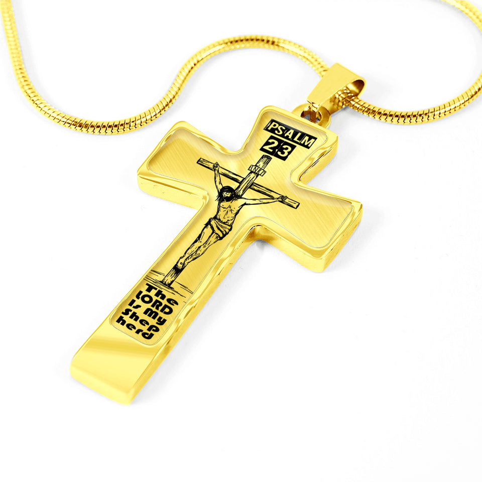 Psalm 23 Christian Cross With Rope Chain
