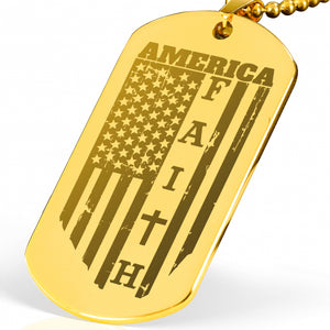 America Engraved Necklace