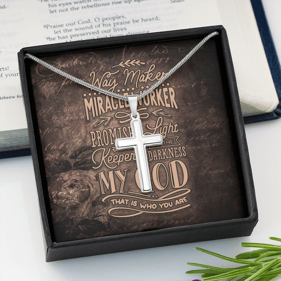 Cross Necklace With Christian Message Card