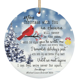 Christmas Remembrance Ceramic Circle Ornament