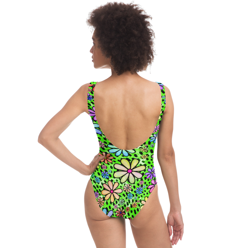 Chartreuse Retro Flower Swimsuit