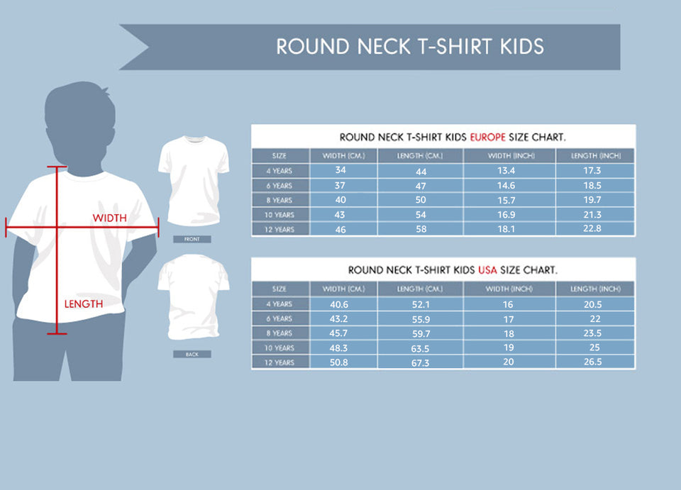 size chart for kids shirt