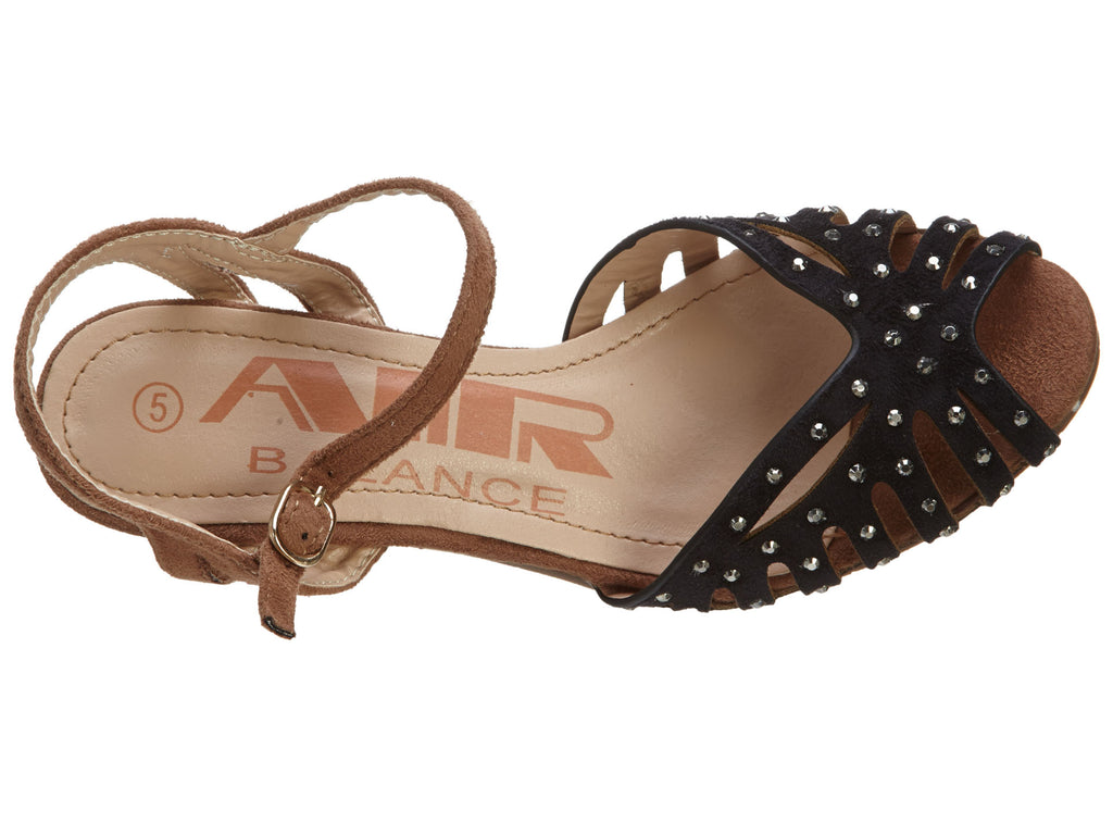 Air Balance Black Brown combo  Sandals Shoes with Heels  Womens Style # Abs1340