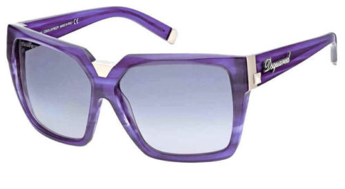 Dsquared Dq0046 81b Womens Shiny Violet Framed Gradient Smoke Lens