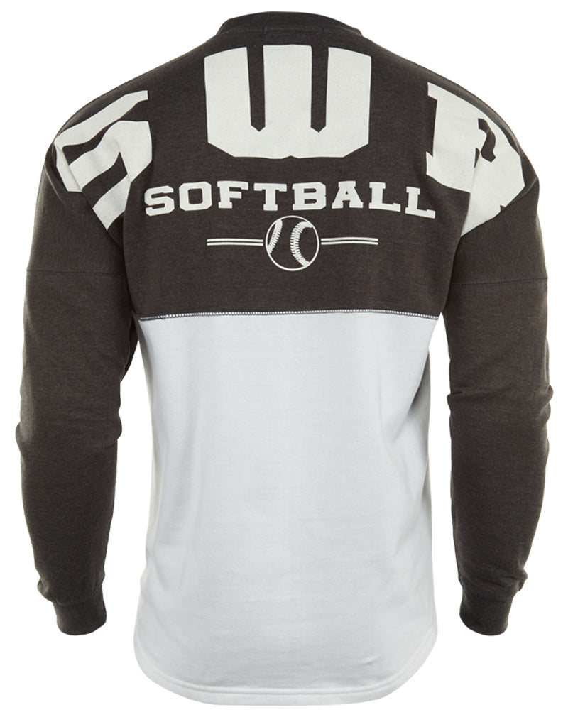 Basix Of America SWR Softball Two Tone Fleece Crewneck Pullover Sweatshirt Unisex Style : CNR-5000