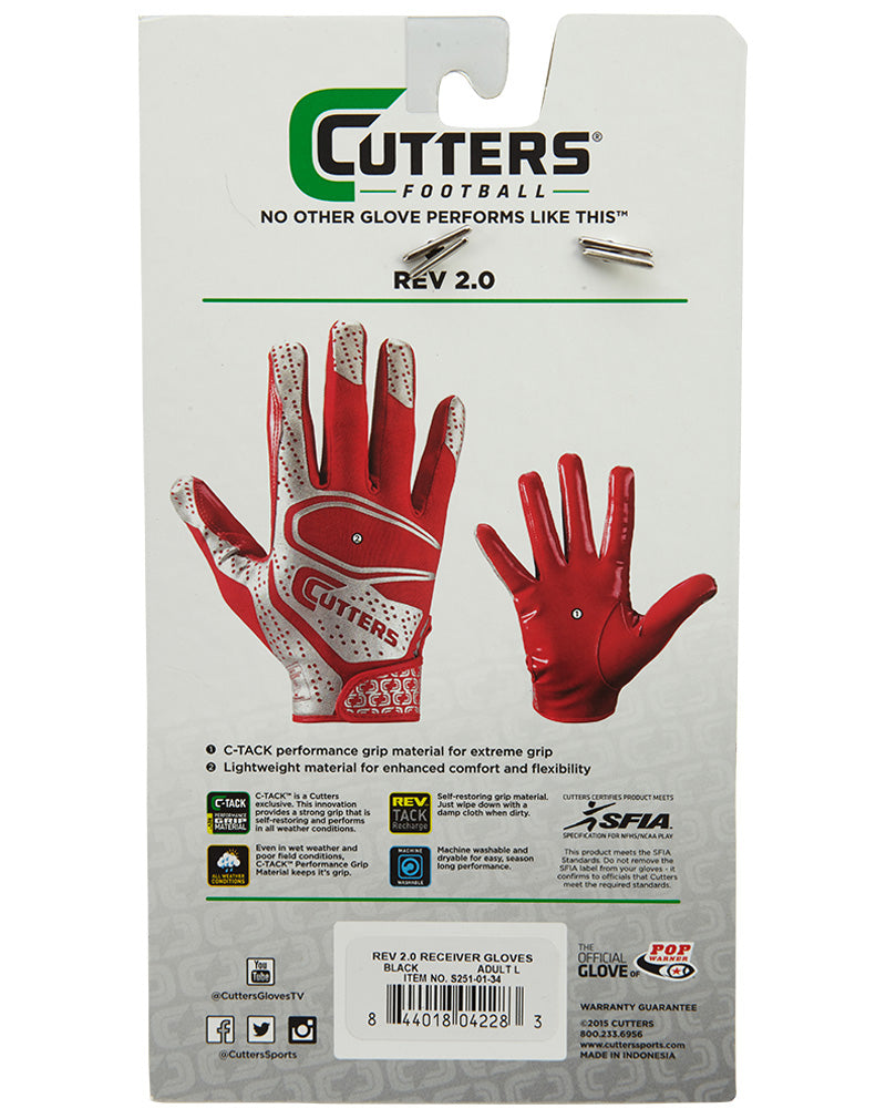Cutters Rev 2.0 Football Receiver Gloves Mens Style : S251-01-32
