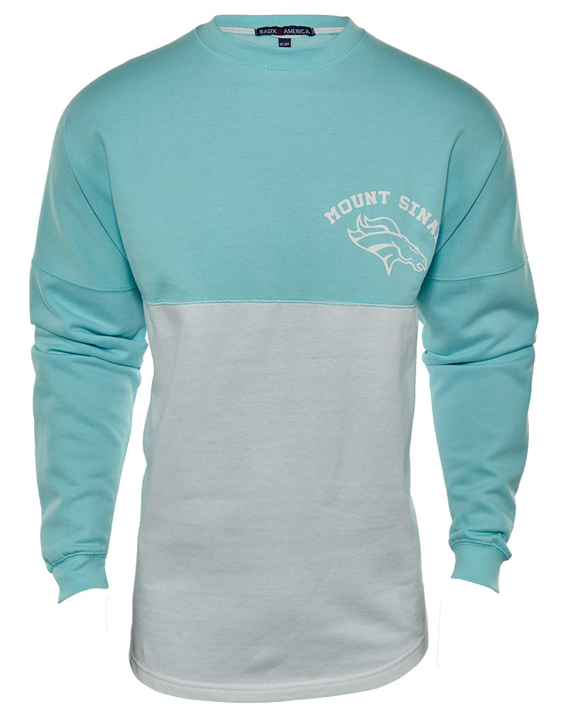 Basix Of America Mount Sinai Lacrosse Two Tone Fleece Crewneck Pullover Sweatshirt Mens Style : CNR-5000