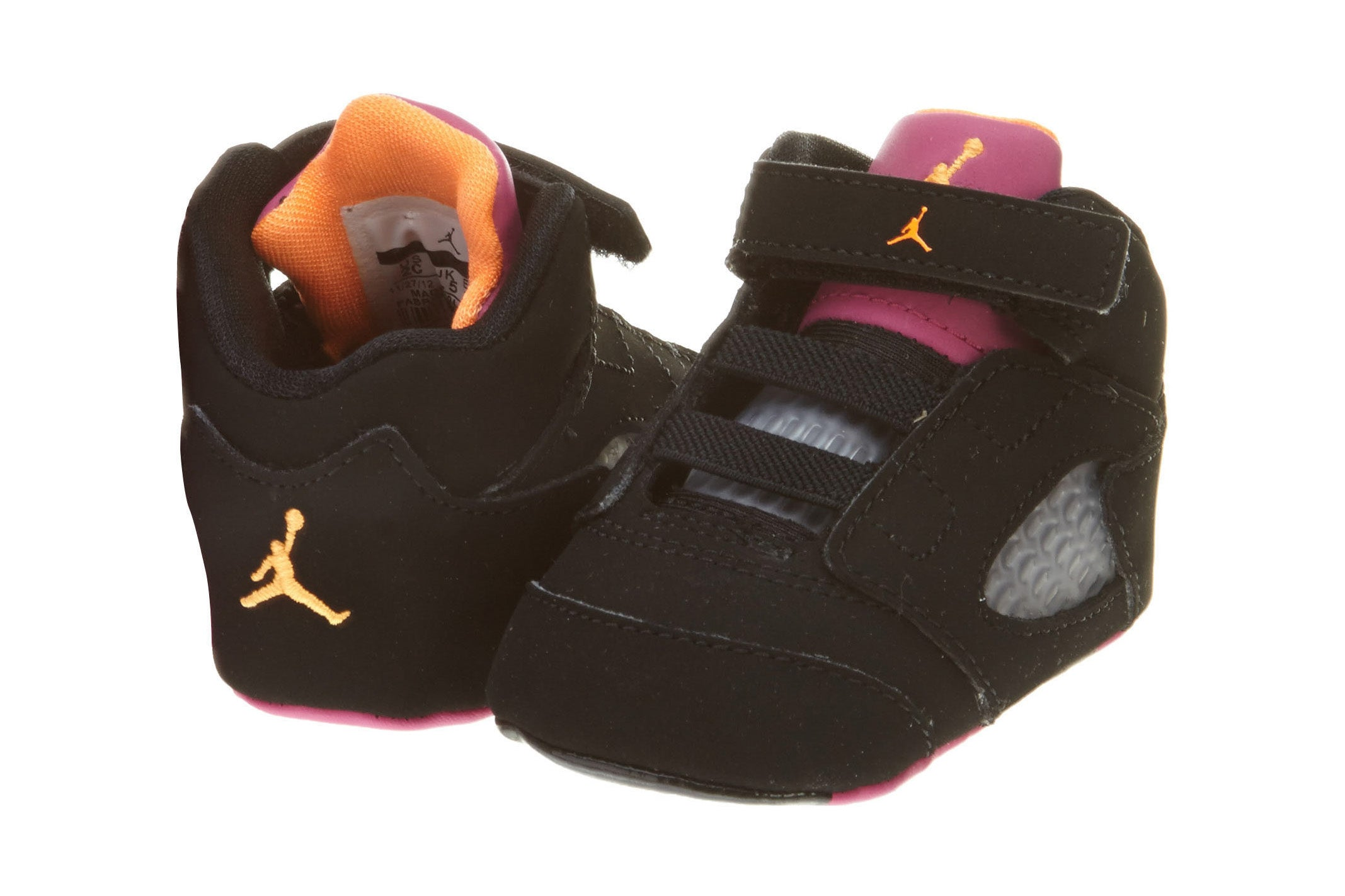 812814834710 Jordan Retro 5 Crib Shoe Black Pink Orange Boys   Girls Style  552494