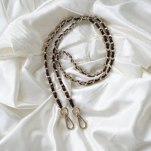 Our Interwoven Leather Chain Strap is the perfect accessory to customise your existing bags (eg Louis Vuitton Mini Pochette Accessoires, Pochette Metis, Speedy) or convert your favourite SLG into a bag (eg Toiletry 26) or as a replacement for Chanel Coco Handle bags. This is similar to Chanel's iconic interwoven chain straps.