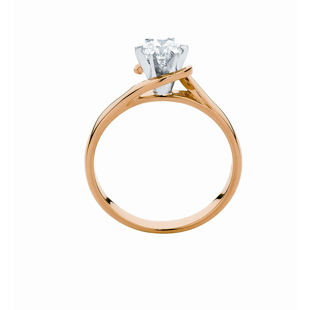 Solitaire Diamond Ring in Yellow, White and Rose Gold