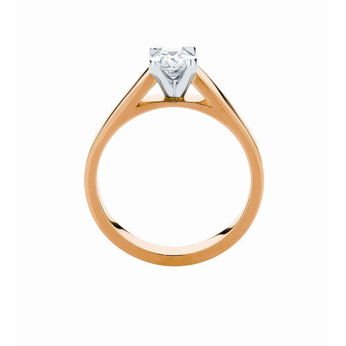 4 claw high shoulders Solitaire Ring in 9K or 18K yellow, white or rose gold with 1/2 ct or 3/4ct center stone