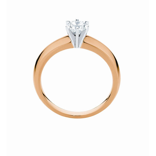 Knife edge 6 claw Solitaire Ring in 9K or 18K yellow, white or rose gold with 1/2 ct or 3/4 ct center stone