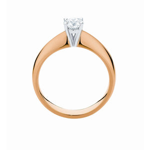 Classic 4 claw Solitaire Ring in 9K or 18K yellow, white or rose gold with 1/2 ct for 3/4 ct center stone
