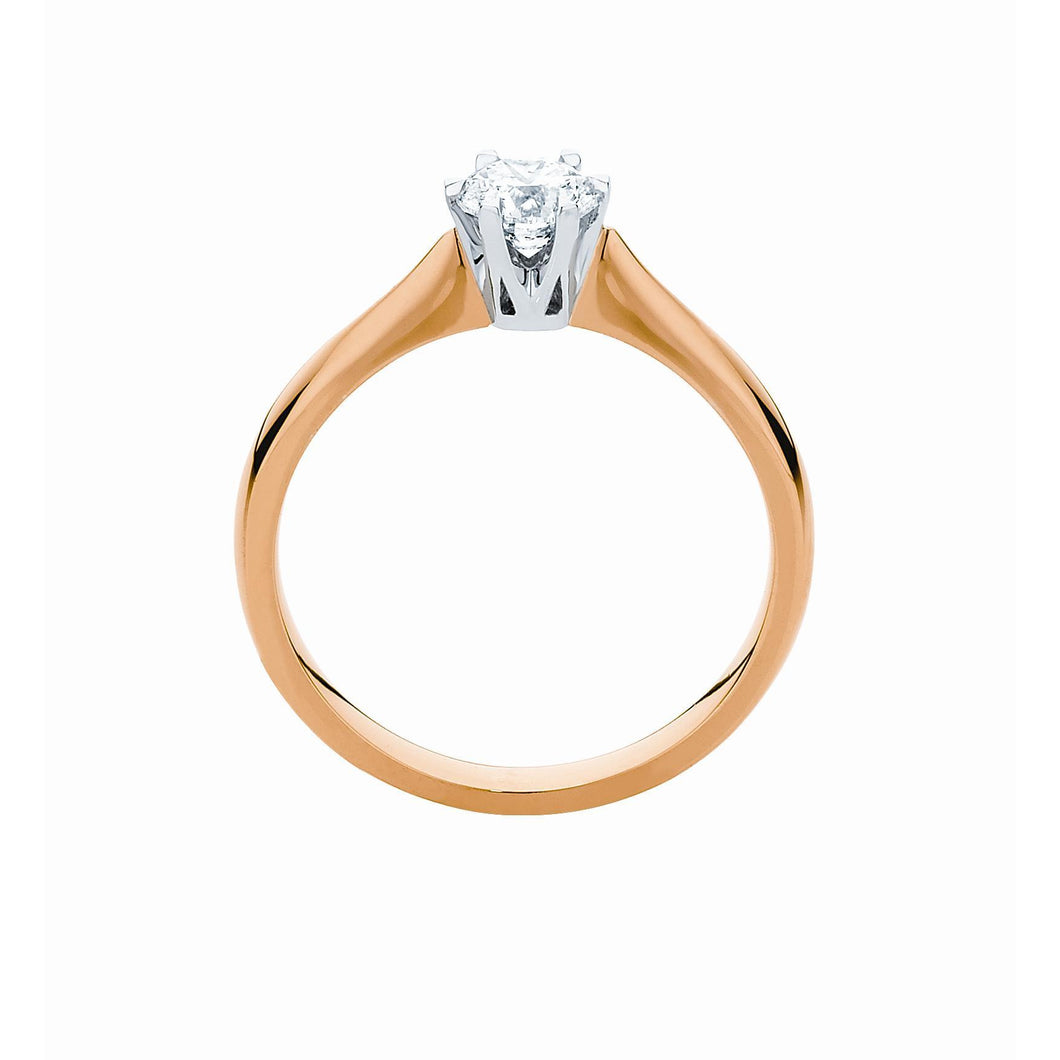6 claw Solitaire Ring in 9 or 18ct yellow, white or rose gold with 1/2 ct for 3/4 ct center stone