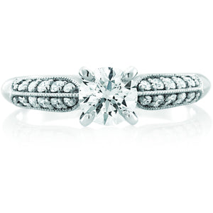 Multi-set design 1/2 ct or 3/4ct center stone featuring 21 greenhouse diamonds